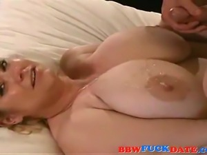 Mature bbw wife suck dick and rides it until hubby cum on her huge tits
