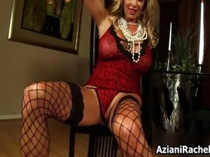 Hot blonde milf in lingerie gets horny