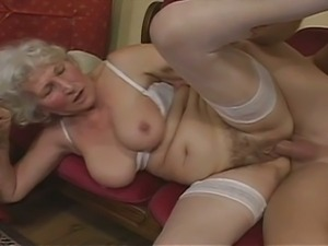 Kinky grandma gets banged by young hunk