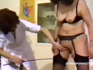 Naive woman undresses herself so her doctor can inspect her body. He whips...