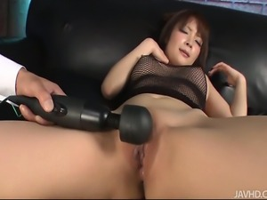 Riona looks sexy in black and her husband bends her ove