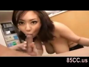 Mosaic: horny big boobs nurse oral blowjob to patient