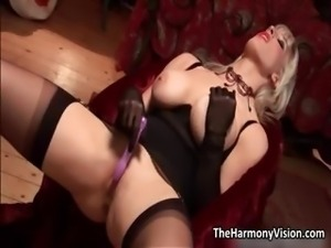 Horny blonde milf with big tits toying part1