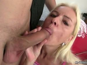 Blonde granny sucks off and fucks her son in law