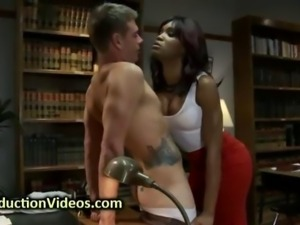 Black tranny in pantyhose fucks student