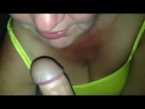mommy in panty and top blowing her boy