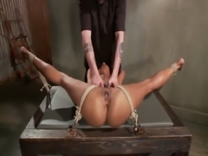 Tied up ebony sub obeys her master during their bdsm session free