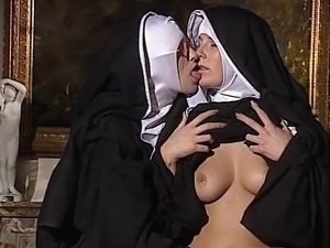 Lesbian Nuns lick each other