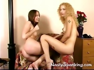 Two bi girls fun spanking