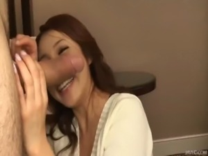 Hot jizz splatters all over Kanako face and down her chin free