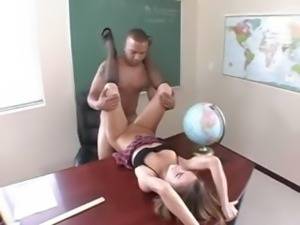 ultra horny chick rides in the classroom
