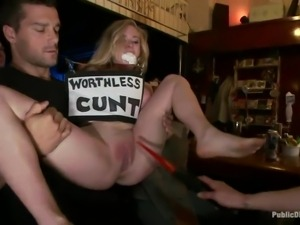 blonde worthless cunt fisted in public