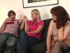 She watches her mom rides her bf's cock