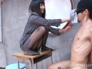 teacher dominates her bad student