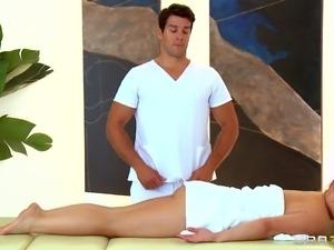 katja is in the hands of masseuse