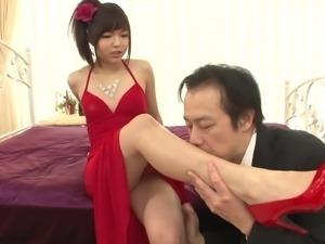 asian cutie wearing a red dress