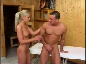 In sauna with pretty blonde
