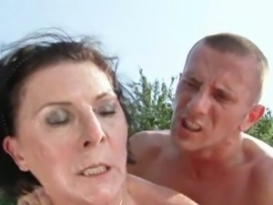 Horny granny margo nailed outdoors