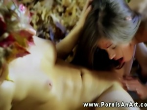 Outdoors lesbian couple sucking pussy for each other