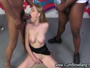 Black cock loving slut interracial gang bang fuck and bukkake