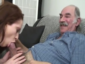 Young brunette slut gets first taste of old dick