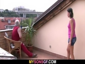 Horny dad bangs his son's GF free