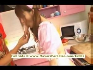 Risa Tsukino innocent Chinese brunette girl blowjobs
