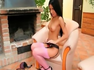sweet super blackhair with pink socks
