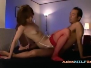 Milf In Stockings Getting Her Hairy Pussy Fucked Facial On The Bed