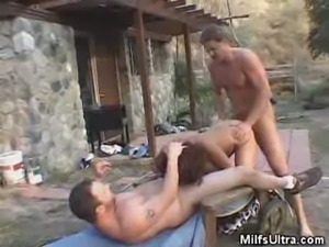 Milf Gang banged Outside Her House