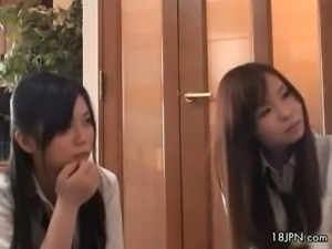 Cute asian babes get horny watching part5