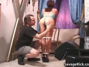Sexy secretary Liz gets tied by kinky