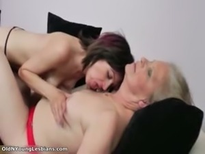Old and young lesbians get horny making part4