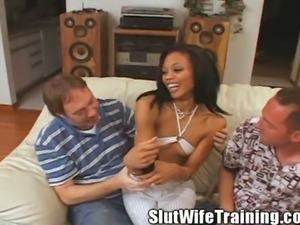 Ebony wife angelina gets slut trained
