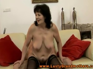 Old granny riding cock with a dildo in her ass and loves it
