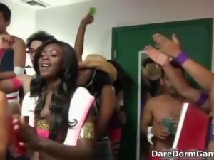 Dirty teen babes go crazy sucking cocks