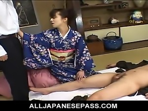 Mai Satsuki is a great geisha in a kimono that satisfys