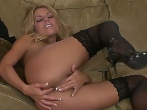 Nicole Graves dressed is sexy shoes and stockings masturbates naughty wet pussy