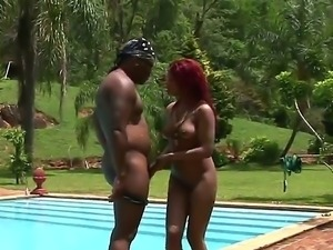 Lusty hunk Jbrown is having an awesome time licking ebony Tammys shaved cunt...