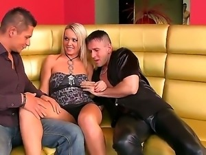 Hardcore threesome with a gentle and horny blonde named Kitty Cat