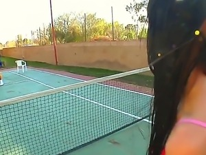 Erotic cute Sadie West giving horny stud a blow job after a game of tennis