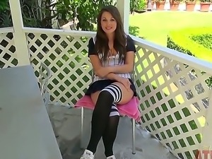 Teen with attractive eyes Cali Hayes gives us an interview in sexy skirt