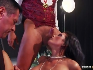 Dark haired and busty milf Shay Sights enjoys in getting