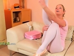 Sexy mom in white pantyhose fingering