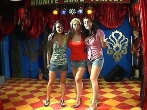 Three prepossessing lesbian pornstars Angelina Stoli, Beverly Hills and Sarah...