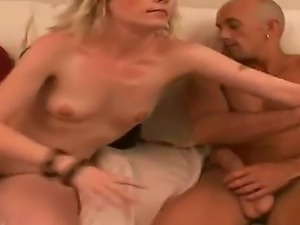 Sexy blonde babe gives guy a steamy blowjob before getting her cunt drilled...