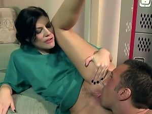 Delightful brunette doctor Andy San Dimas getting fucked up by Keiran Lee