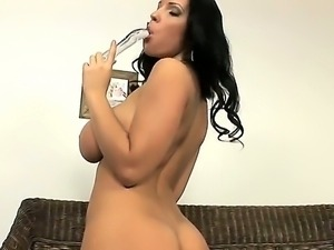 Check out with precious brunette slut Laura Lion masturbating with dildo