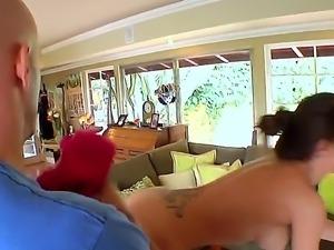 Exciting busty brunette porn star Capri Cavalli enjoys full body oiled...