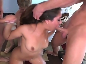 Enjoy Bill Bailey, Claudio Meloni, Jynx Maze and Michael Vegas in group sex...